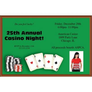 Poker Table Custom Photo Personalized Invitations