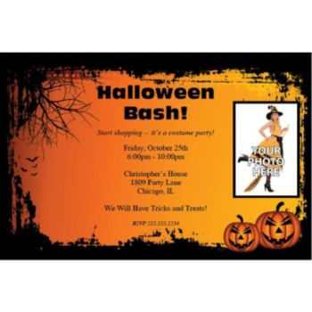 Spooky Pumpkins Custom Photo Personalized Invitations