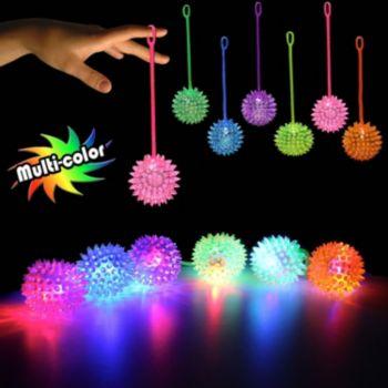 Multi-Color LED Spike Yo-Yo Balls - 12 Pack