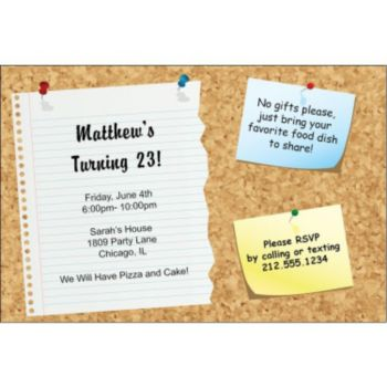 Cork Board Personalized Invitaitons