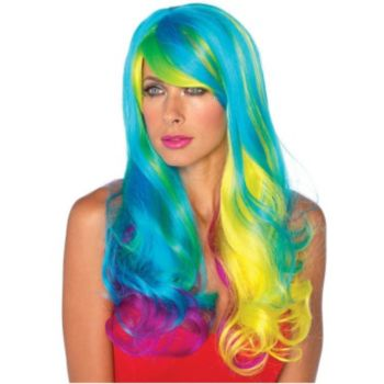Prism Long Wavy Rainbow Wig