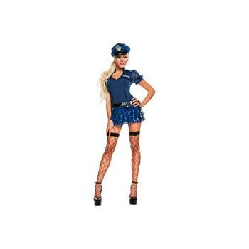 Blue Sequin Cop Adult Plus Size  Costume