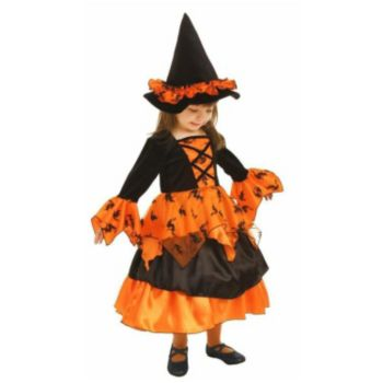 Little Orange Witch Dress and Hat ToddlerChild Costume