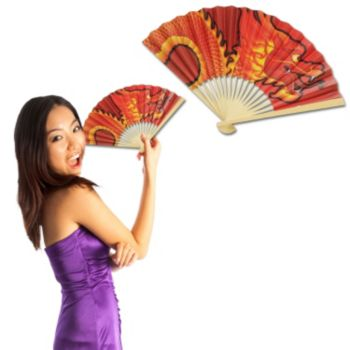 Chinese Dragon Fan, 12 Pack