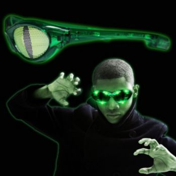 Billboard Green LED Cat Eye Sunglasses