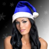 Blue Felt Santa Hats - 12 Pack