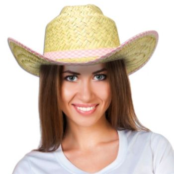 Natural Straw Cowboy Hat with Pink Checked Band