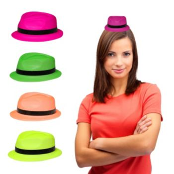 Assorted Color Neon Mini Plastic Fedoras - 12 Pack