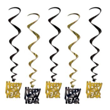 Happy New Year Black and Gold Swirls - 5 Pack
