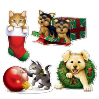 Puppy and Kitten Christmas Cutouts