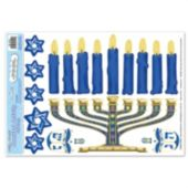 Hanukkah Menorah Window Cling Decoration Kit