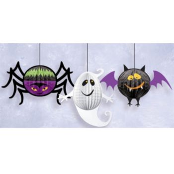 Honeycomb Hanging Halloween Decorations - 3 Pack
