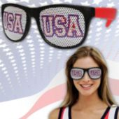 Neon Red USA Billboard Sunglasses