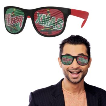Neon Red Merry Xmas Billboard Sunglasses