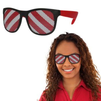 Neon Red Candy Cane Billboard Sunglasses