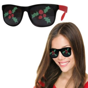 Neon Red Christmas Holly Billboard Sunglasses