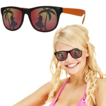 Neon Orange Tropical Billboard Sunglasses