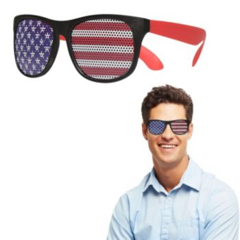 Neon Red American Flag Billboard Sunglasses
