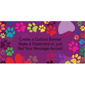 Colorful Paw Print Custom Banner
