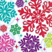 Bright Snowflakes Beverage Napkins - 16 Pack