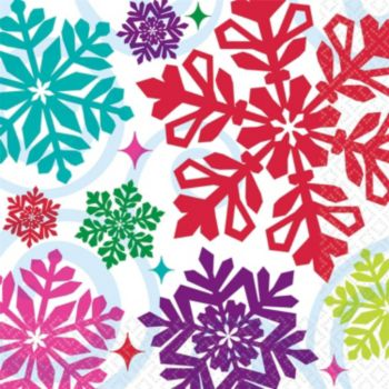 Bright Snowflakes Lunch Napkins - 16 Pack