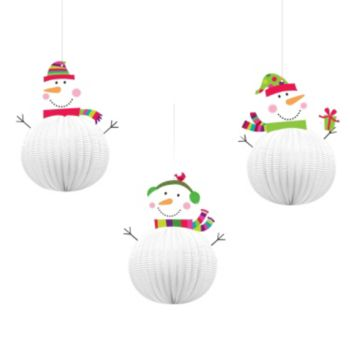 Joyful Honeycomb Snowman Decorations - 3 Pack