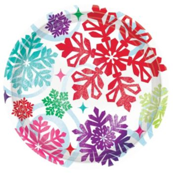 Bright Snowflakes Plates - 9 Inch, 8 Pack