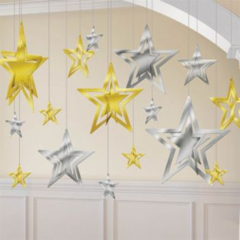 Silver and Gold 3-D Star Decorating Kit