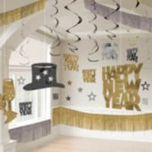 Silver, Black, And Gold New Year's Eve Decorating Kit