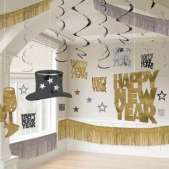 Silver, Black and Gold New Year's Eve Decorating Kit