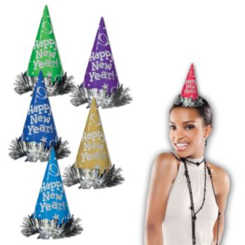 Assorted Color New Year's Eve Glitter Cone Hats - 12 Pack