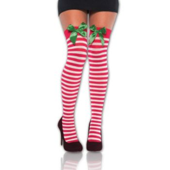 Holiday Striped Thigh High Socks