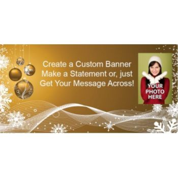 Gold Ornaments Holiday Custom Photo Banner