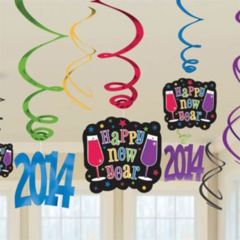 Multi-Color Happy New Year 2014 Swirls - 12 Pack