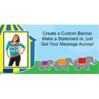Circus Elephants Custom Photo Banner