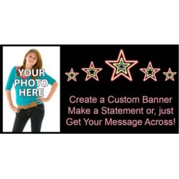 Electric Neon Stars Custom Photo Banner