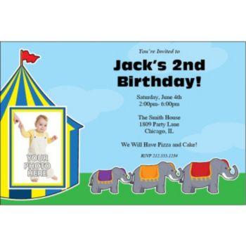 Circus Elephants Personalized Photo Invitations