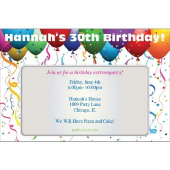 Balloon Celebration Personalized Invitations