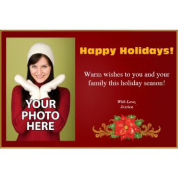 Poinsettia Holiday Personalized Photo Card