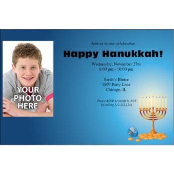 Hanukkah Party Personalized Photo Invitations