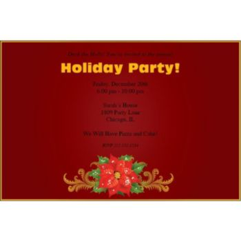 Poinsettia Holiday Personalized Invitations