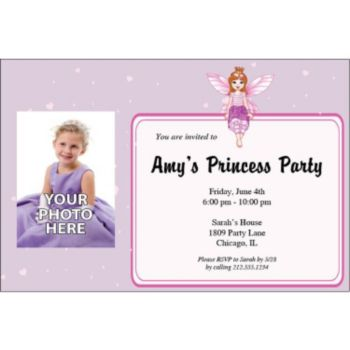 Fairy Princess Personalized Photo Invitations