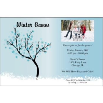 Snowflake Scene Personalized Photo Invitations