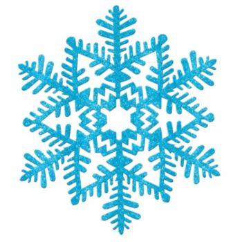 Blue Glitter Plastic Snowflakes - 11 Inch