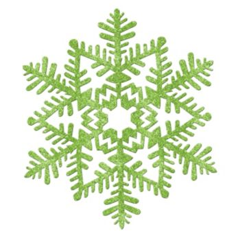 Green Glitter Plastic Snowflakes - 11 Inch
