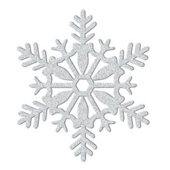 Silver Glitter Plastic Snowflakes - 11 Inch
