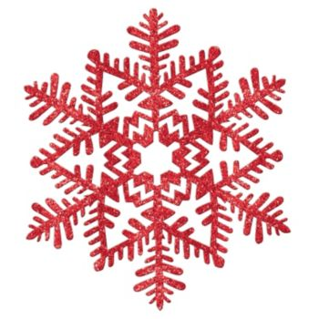 Red Glitter Plastic Snowflakes - 11 Inch