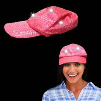Pink Sequin Light Up Baseball Cap