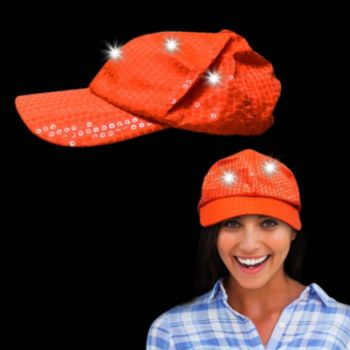 Orange Sequin Light Up Baseball Cap