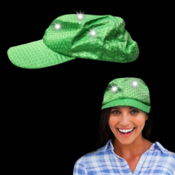 Green Sequin Light Up Baseball Cap